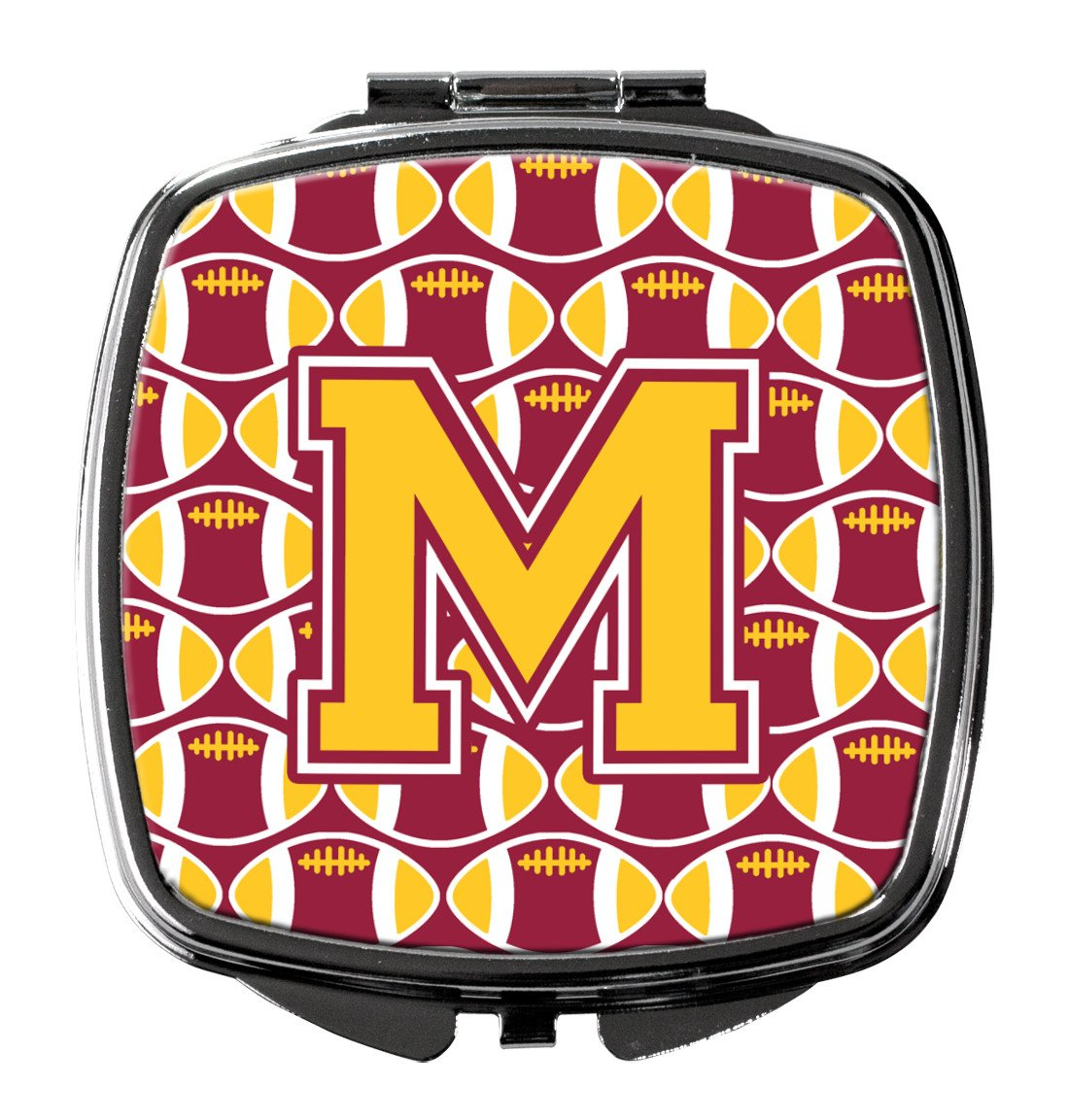 Letter M Football Maroon and Gold Compact Mirror CJ1081-MSCM by Caroline's Treasures
