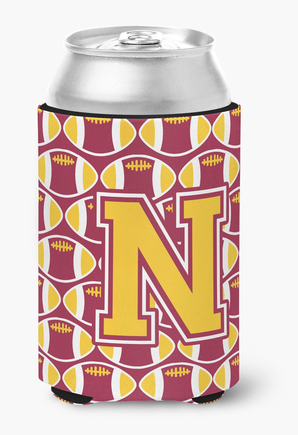 Letter N Football Maroon and Gold Can or Bottle Hugger CJ1081-NCC by Caroline's Treasures