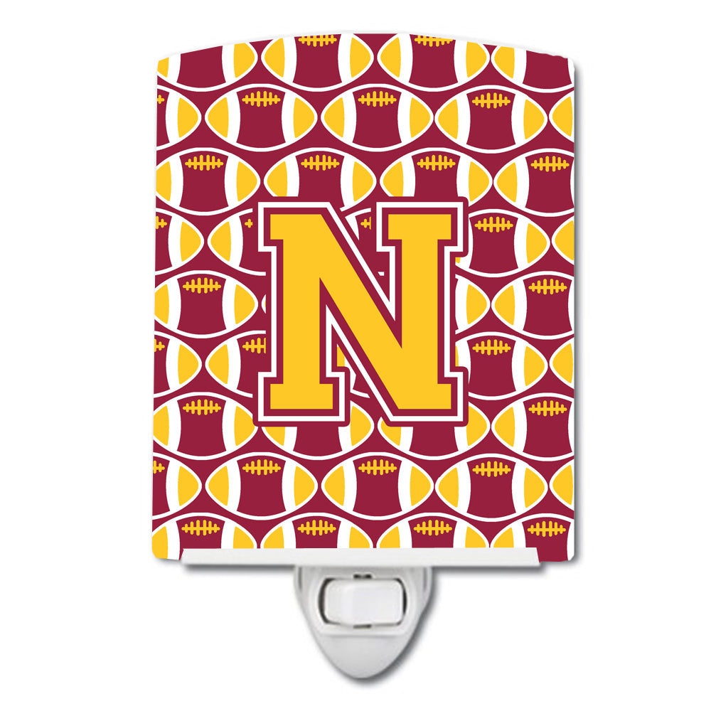Buy this Letter N Football Maroon and Gold Ceramic Night Light CJ1081-NCNL