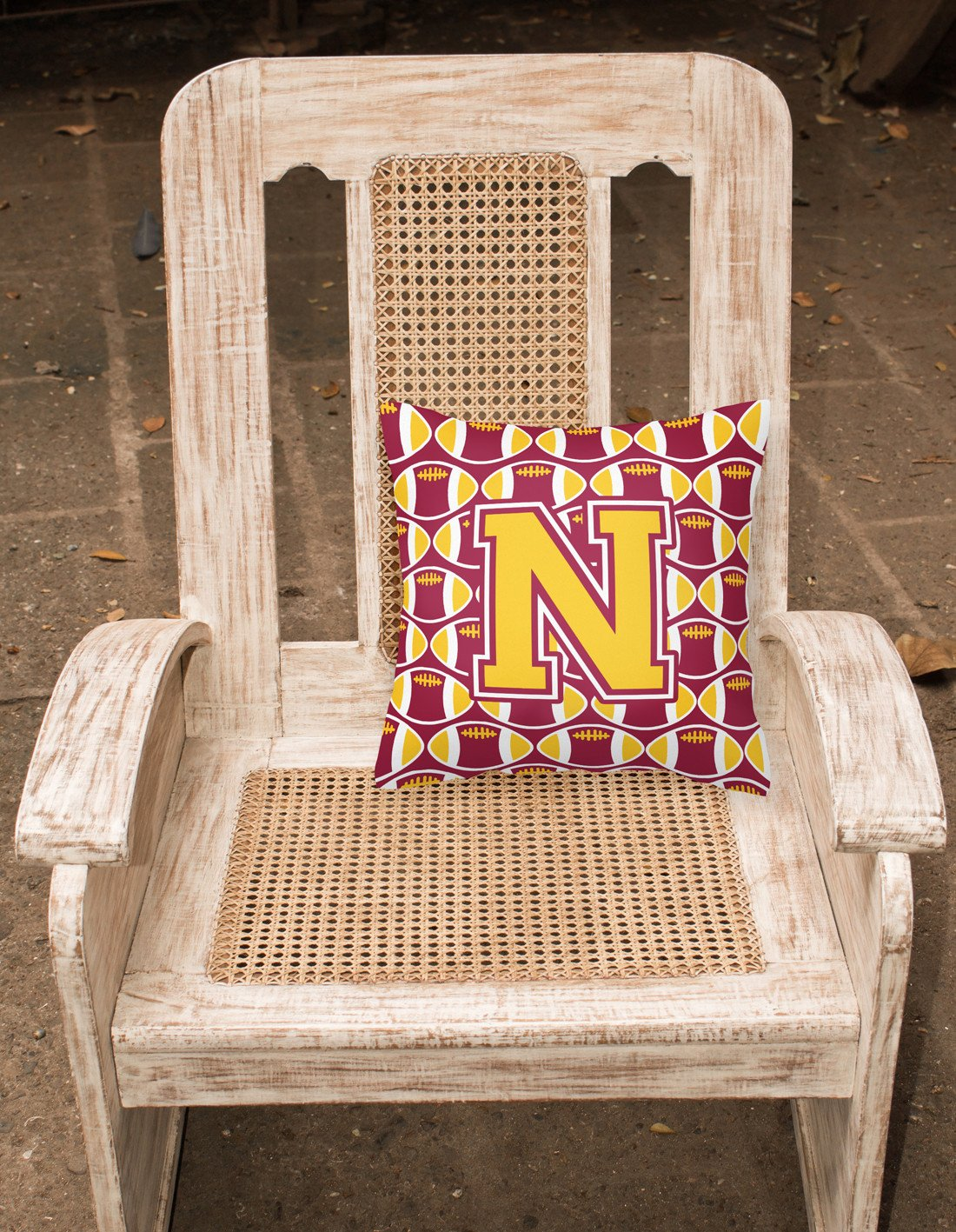 Letter N Football Maroon and Gold Fabric Decorative Pillow CJ1081-NPW1414 by Caroline's Treasures