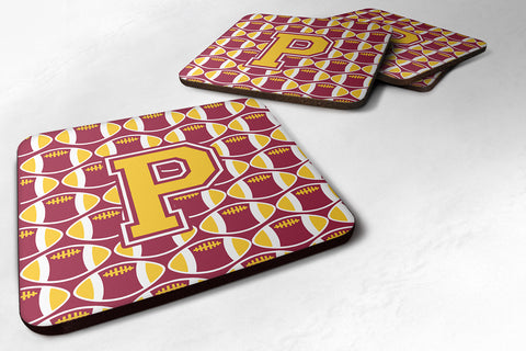 Buy this Letter P Football Maroon and Gold Foam Coaster Set of 4 CJ1081-PFC