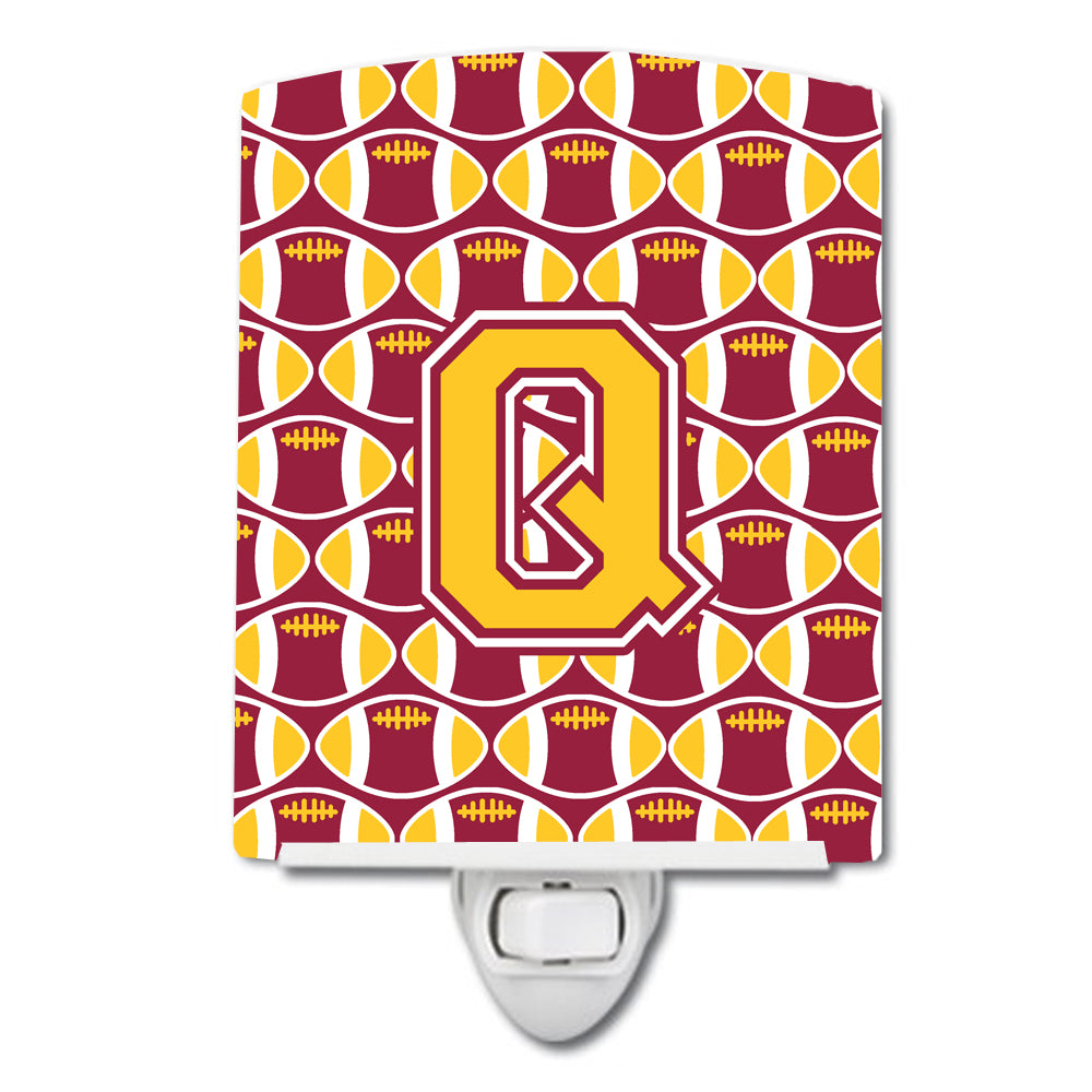Buy this Letter Q Football Maroon and Gold Ceramic Night Light CJ1081-QCNL