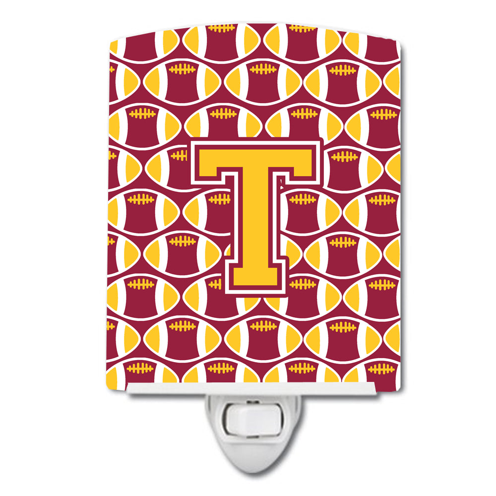 Buy this Letter T Football Maroon and Gold Ceramic Night Light CJ1081-TCNL