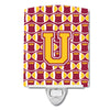 Buy this Letter U Football Maroon and Gold Ceramic Night Light CJ1081-UCNL