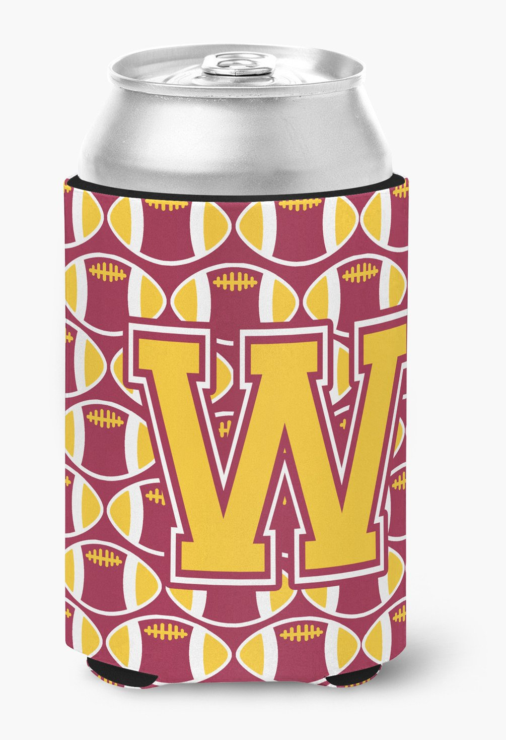 Buy this Letter W Football Maroon and Gold Can or Bottle Hugger CJ1081-WCC