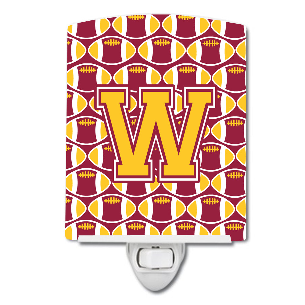 Buy this Letter W Football Maroon and Gold Ceramic Night Light CJ1081-WCNL