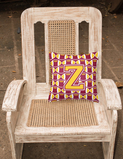 Letter Z Football Maroon and Gold Fabric Decorative Pillow CJ1081-ZPW1414