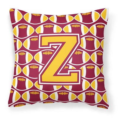 Buy this Letter Z Football Maroon and Gold Fabric Decorative Pillow CJ1081-ZPW1414