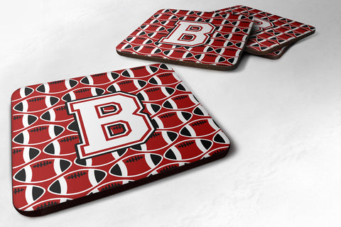 Buy this Letter B Football Cardinal and White Foam Coaster Set of 4 CJ1082-BFC