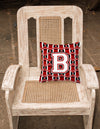 Letter B Football Cardinal and White Fabric Decorative Pillow CJ1082-BPW1414