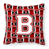 Buy this Letter B Football Cardinal and White Fabric Decorative Pillow CJ1082-BPW1414