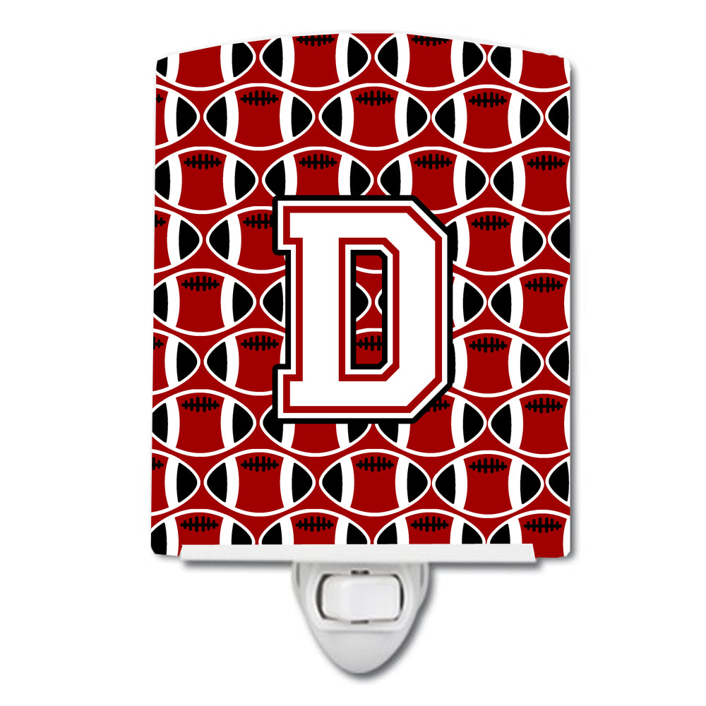 Letter D Football Cardinal and White Ceramic Night Light CJ1082-DCNL by Caroline's Treasures