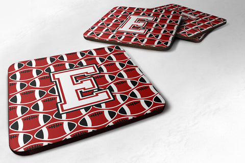 Buy this Letter E Football Cardinal and White Foam Coaster Set of 4 CJ1082-EFC