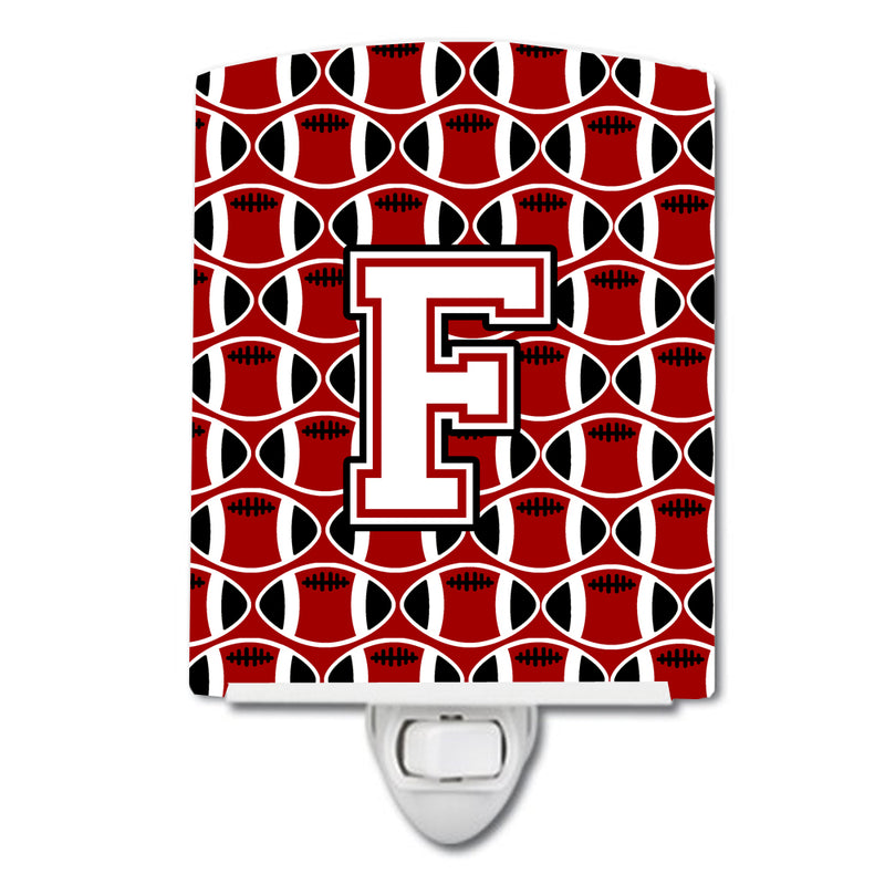 Buy this Letter F Football Cardinal and White Ceramic Night Light CJ1082-FCNL