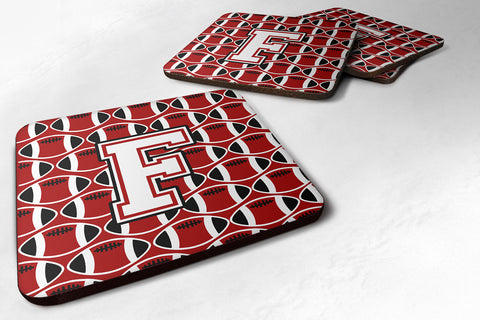 Buy this Letter F Football Cardinal and White Foam Coaster Set of 4 CJ1082-FFC