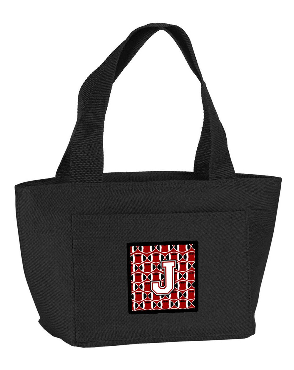 Letter J Football Cardinal and White Lunch Bag CJ1082-JBK-8808 by Caroline's Treasures