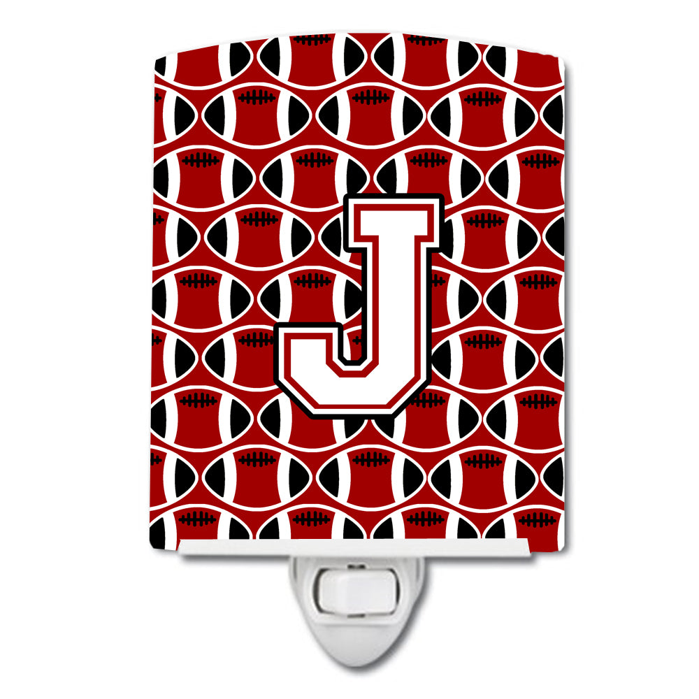 Letter J Football Cardinal and White Ceramic Night Light CJ1082-JCNL by Caroline's Treasures