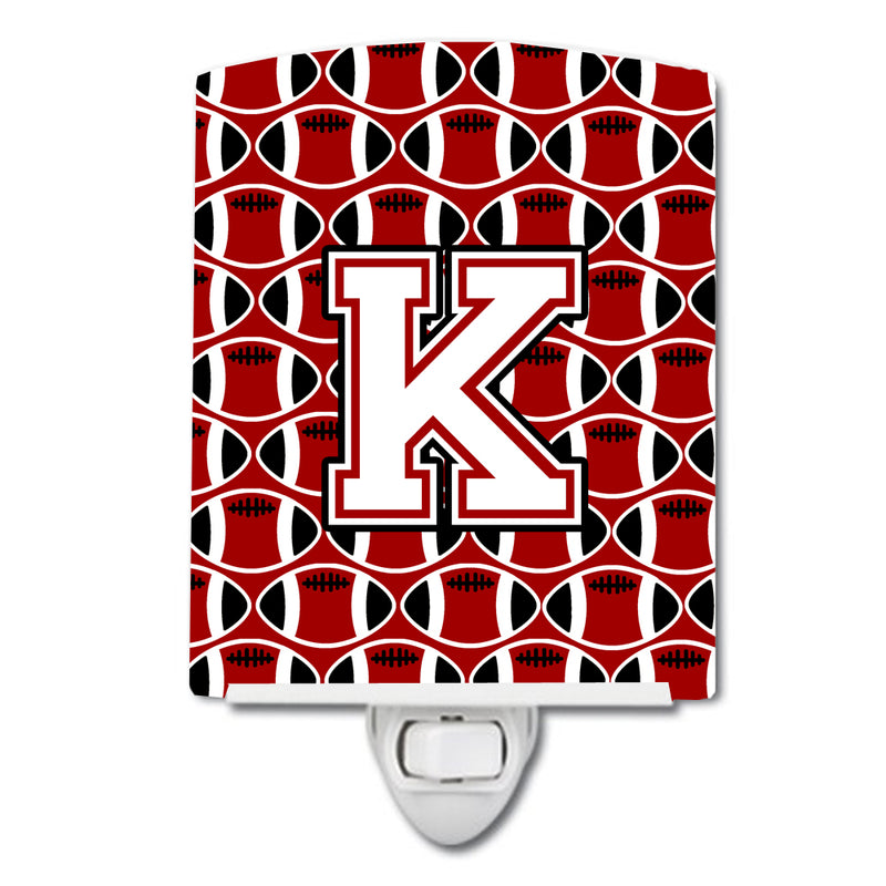 Buy this Letter K Football Cardinal and White Ceramic Night Light CJ1082-KCNL