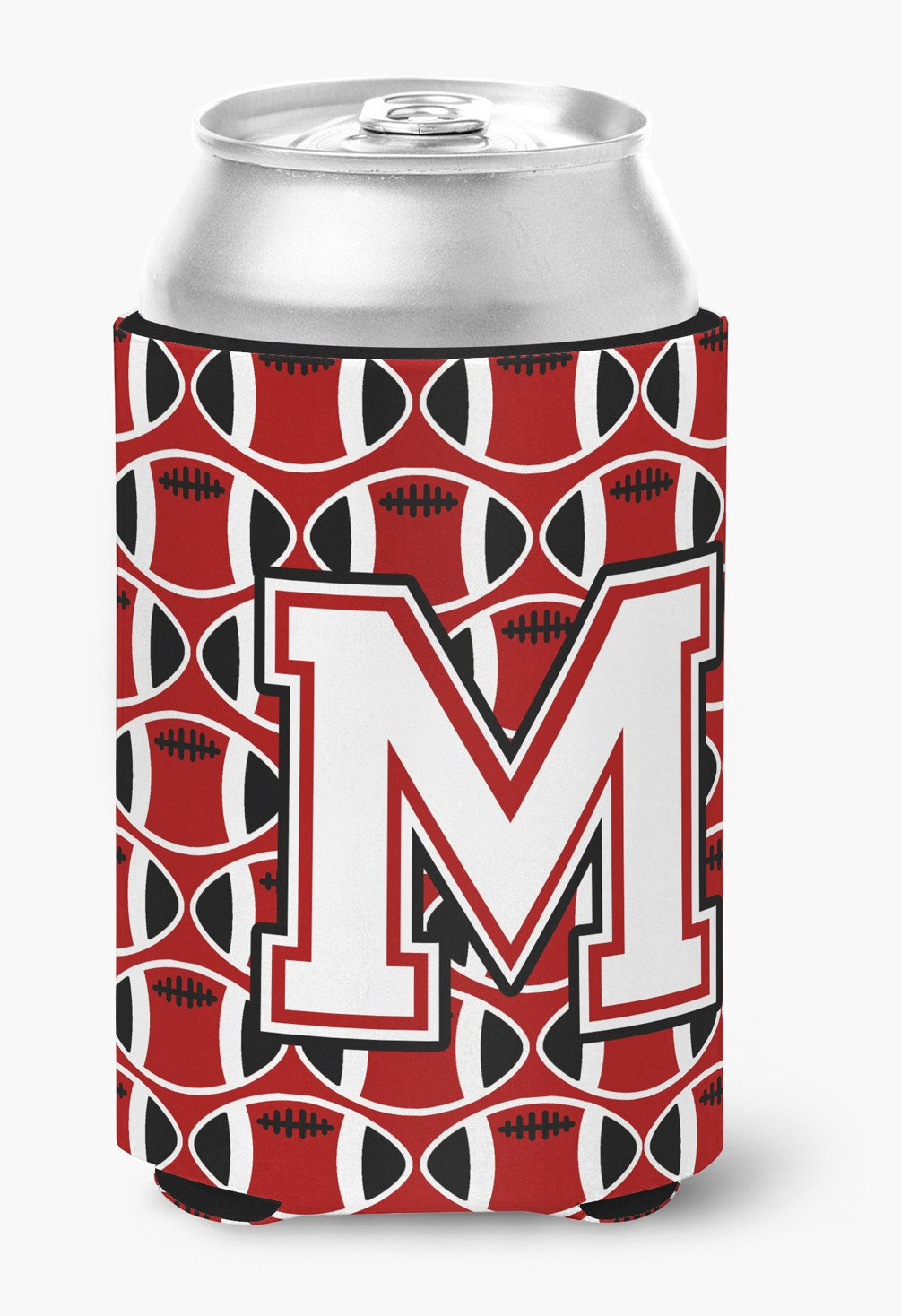 Letter M Football Cardinal and White Can or Bottle Hugger CJ1082-MCC by Caroline's Treasures