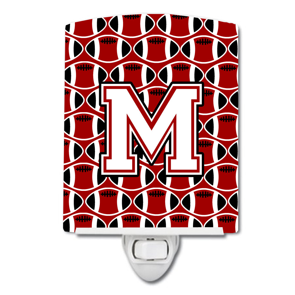 Letter M Football Cardinal and White Ceramic Night Light CJ1082-MCNL by Caroline's Treasures