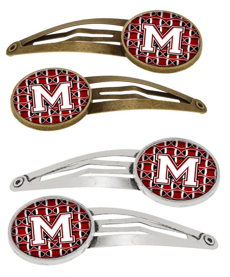 Buy this Letter M Football Cardinal and White Set of 4 Barrettes Hair Clips CJ1082-MHCS4