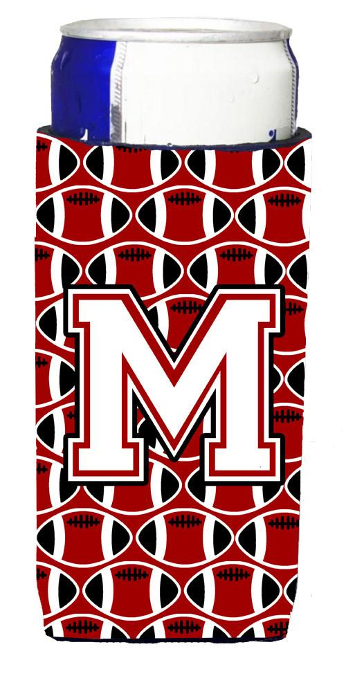 Letter M Football Cardinal and White Ultra Beverage Insulators for slim cans CJ1082-MMUK by Caroline's Treasures