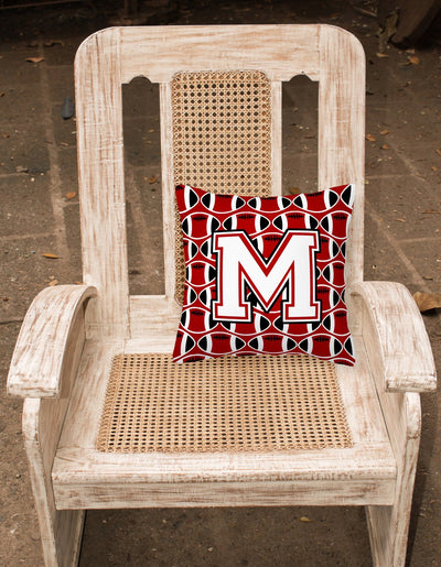 Letter M Football Cardinal and White Fabric Decorative Pillow CJ1082-MPW1414