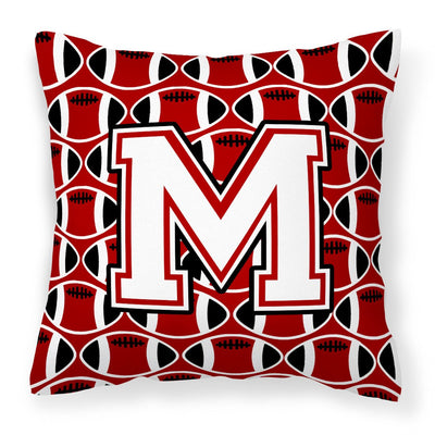 Buy this Letter M Football Cardinal and White Fabric Decorative Pillow CJ1082-MPW1414