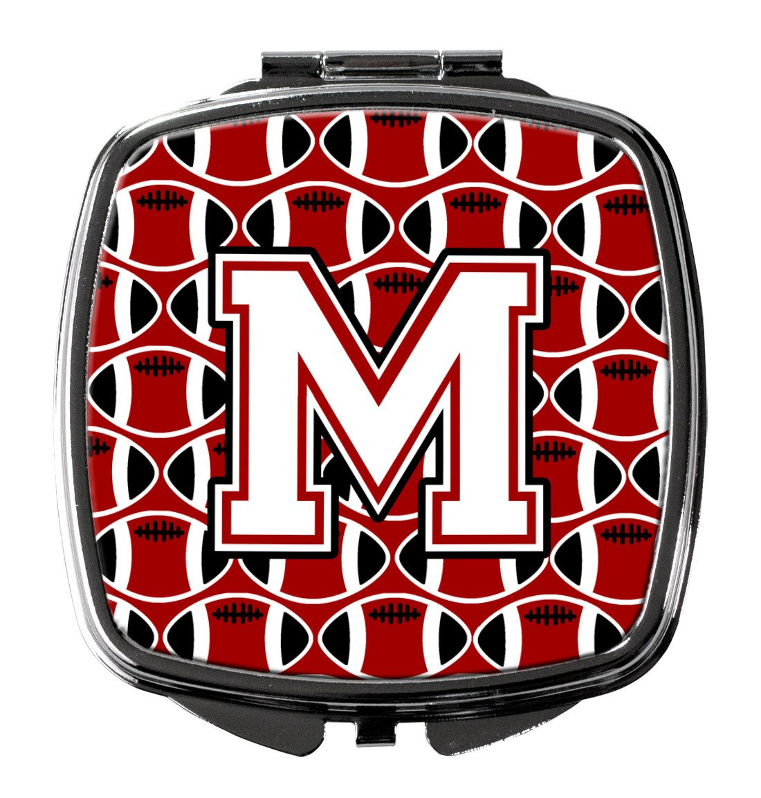 Letter M Football Cardinal and White Compact Mirror CJ1082-MSCM by Caroline's Treasures