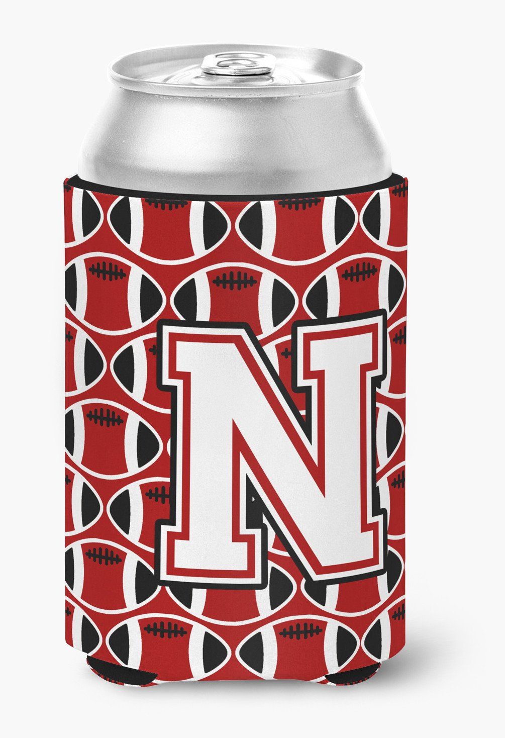 Letter N Football Cardinal and White Can or Bottle Hugger CJ1082-NCC by Caroline's Treasures