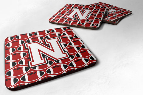 Buy this Letter N Football Cardinal and White Foam Coaster Set of 4 CJ1082-NFC