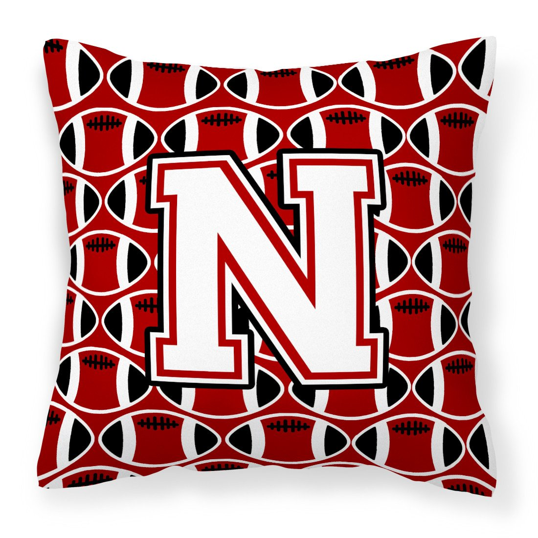 Letter N Football Cardinal and White Fabric Decorative Pillow CJ1082-NPW1414 by Caroline's Treasures