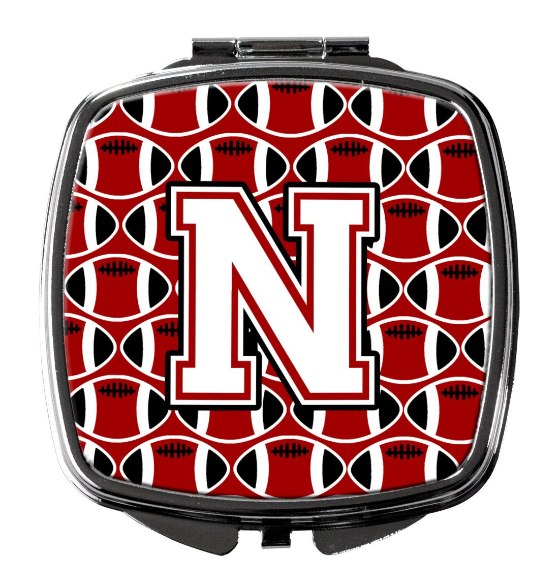 Letter N Football Cardinal and White Compact Mirror CJ1082-NSCM by Caroline's Treasures