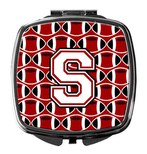 Buy this Letter S Football Cardinal and White Compact Mirror CJ1082-SSCM