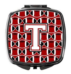 Buy this Letter T Football Cardinal and White Compact Mirror CJ1082-TSCM