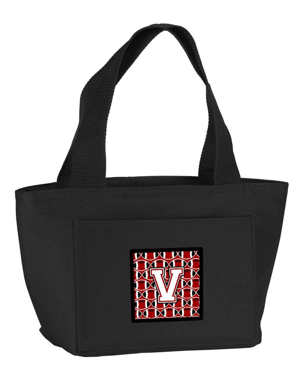 Letter V Football Cardinal and White Lunch Bag CJ1082-VBK-8808 by Caroline's Treasures