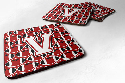 Buy this Letter V Football Cardinal and White Foam Coaster Set of 4 CJ1082-VFC