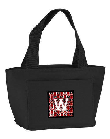 Buy this Letter W Football Cardinal and White Lunch Bag CJ1082-WBK-8808