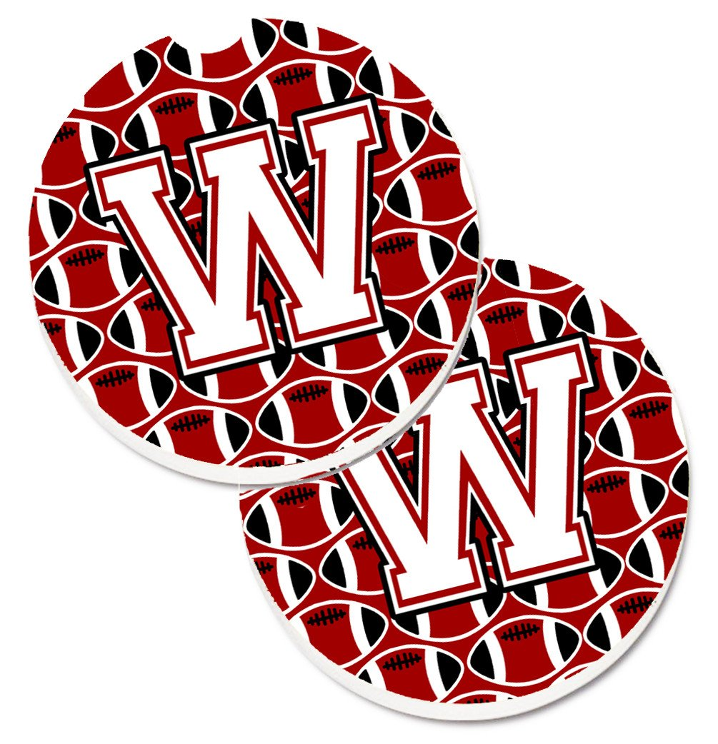 Buy this Letter W Football Cardinal and White Set of 2 Cup Holder Car Coasters CJ1082-WCARC