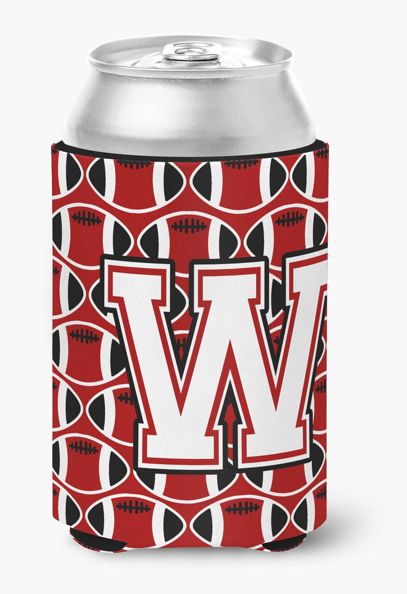 Buy this Letter W Football Cardinal and White Can or Bottle Hugger CJ1082-WCC