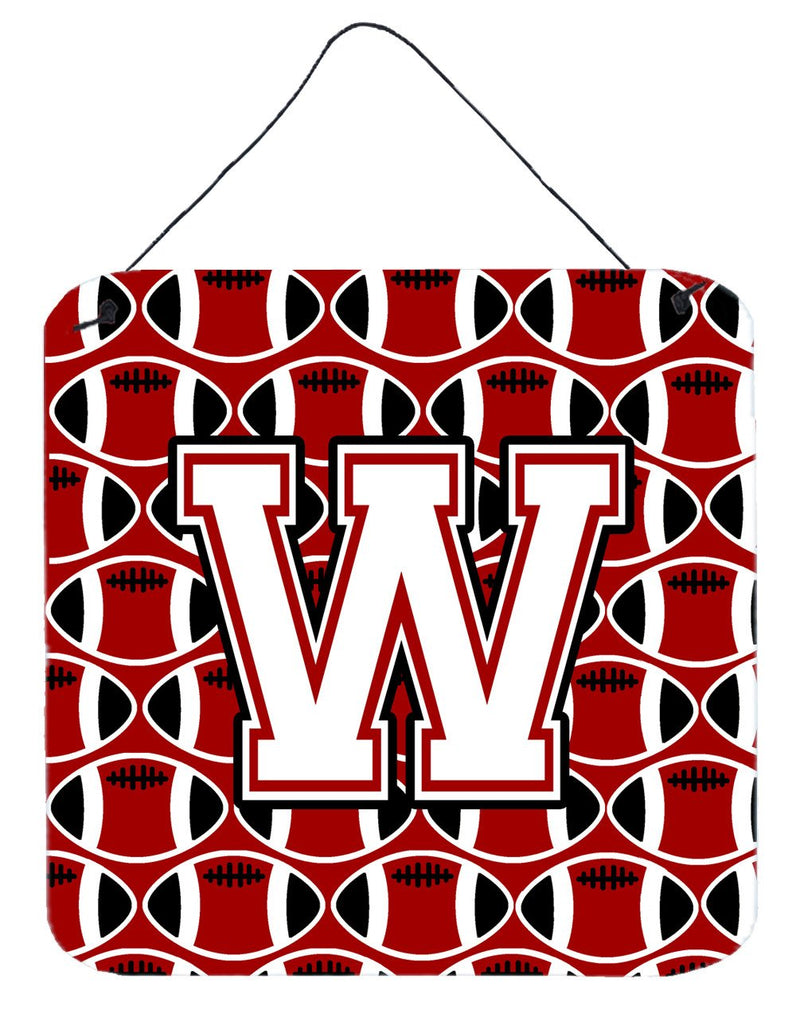 Buy this Letter W Football Cardinal and White Wall or Door Hanging Prints CJ1082-WDS66