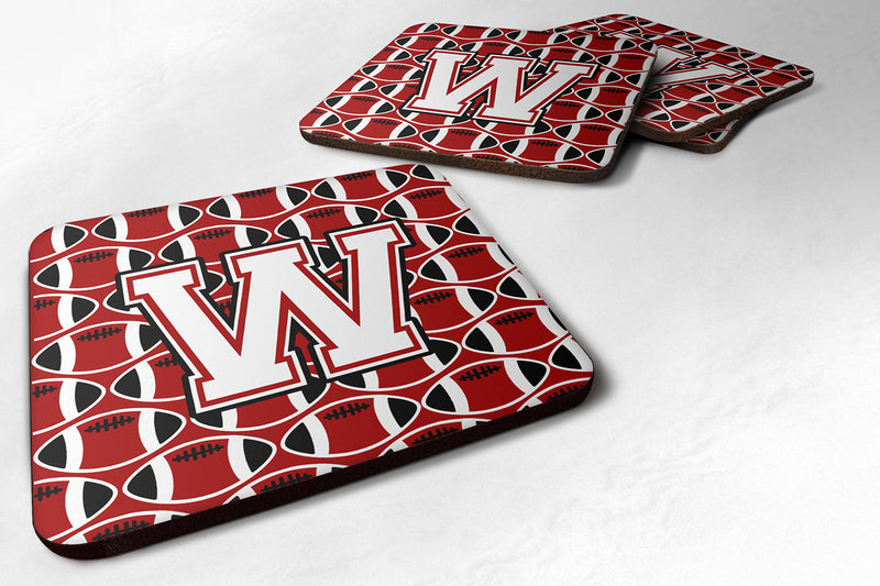 Buy this Letter W Football Cardinal and White Foam Coaster Set of 4 CJ1082-WFC