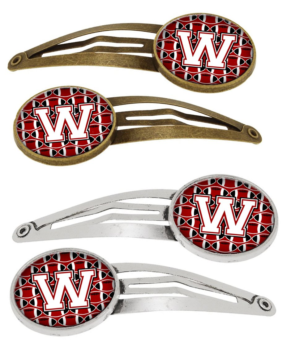 Buy this Letter W Football Cardinal and White Set of 4 Barrettes Hair Clips CJ1082-WHCS4