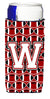 Buy this Letter W Football Cardinal and White Ultra Beverage Insulators for slim cans CJ1082-WMUK