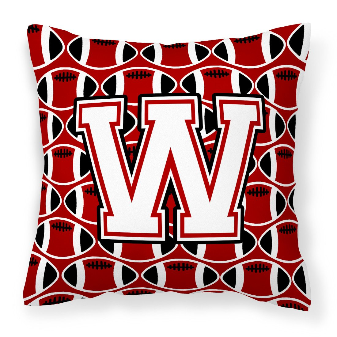 Buy this Letter W Football Cardinal and White Fabric Decorative Pillow CJ1082-WPW1414