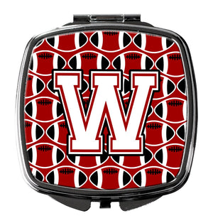 Buy this Letter W Football Cardinal and White Compact Mirror CJ1082-WSCM