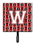 Buy this Letter W Football Cardinal and White Leash or Key Holder CJ1082-WSH4