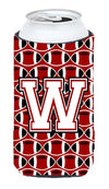 Letter W Football Cardinal and White Tall Boy Beverage Insulator Hugger CJ1082-WTBC by Caroline's Treasures