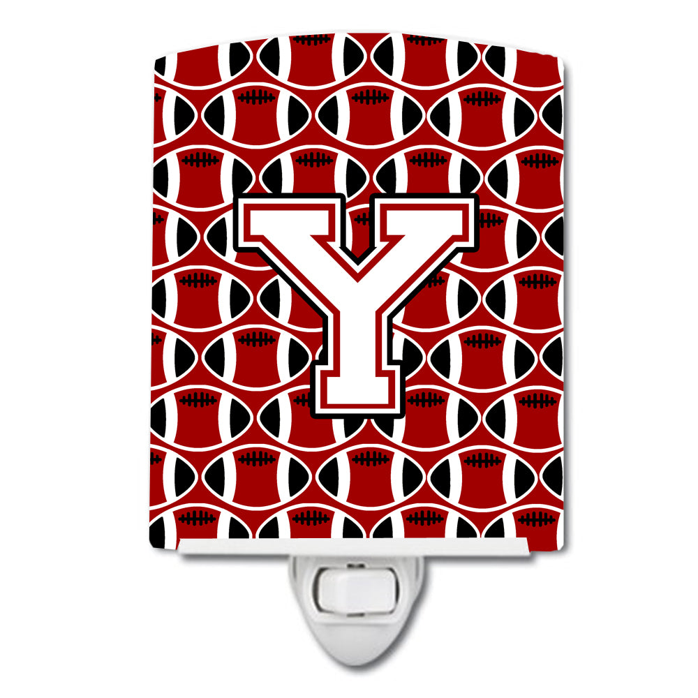 Buy this Letter Y Football Cardinal and White Ceramic Night Light CJ1082-YCNL