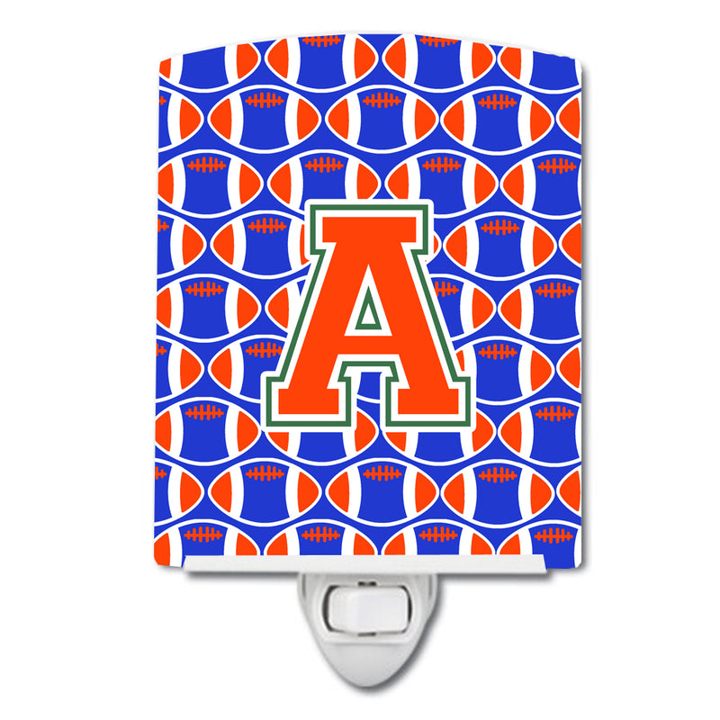 Buy this Letter A Football Green, Blue and Orange Ceramic Night Light CJ1083-ACNL